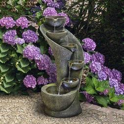 23.6 inch Outside Fountains and Waterfalls with 6 Bowls Curv