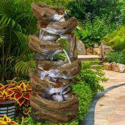 """41"""" Indoor/Outdoor Water Fountains Waterfall LED Light&Pump"""
