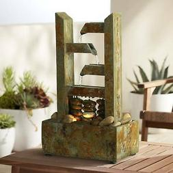 """Zigzag Natural Slate Lighted 17 1/4"""" High Table Fountain"""
