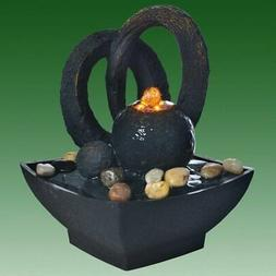 Black Sphere with Arches Lit Indoor Tabletop Water Feature