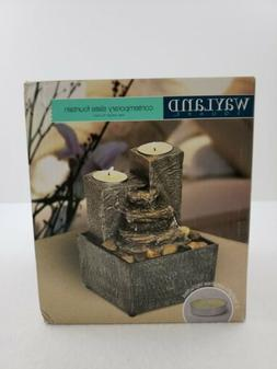 Wayland Square Contemporary Slate Fountain Step Tealight Roc