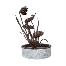 """Decorative Floral Fountain 13.5"""" x 24""""H, Metal by Melrose In"""