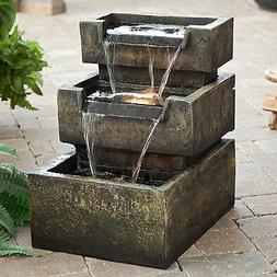 Indoor Outdoor Stone Resin 3-Tier LED Lighted Water Fountain