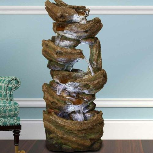 """41"""" Indoor/Outdoor Water Fountains Waterfall Light&Pump Stacked"""