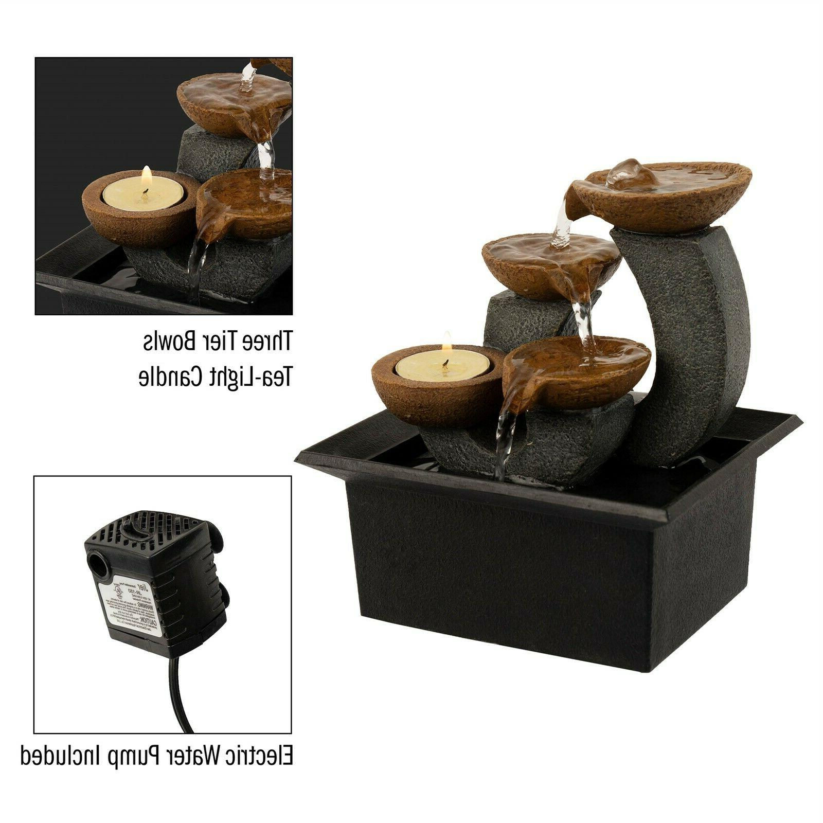 Tabletop Water Fountain Waterfall 3 Holder Soothing Sound