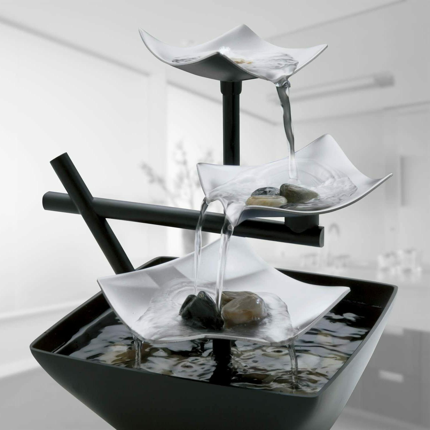 Tabletop Water Fountain Indoor Waterfall Relaxation Rest Tra