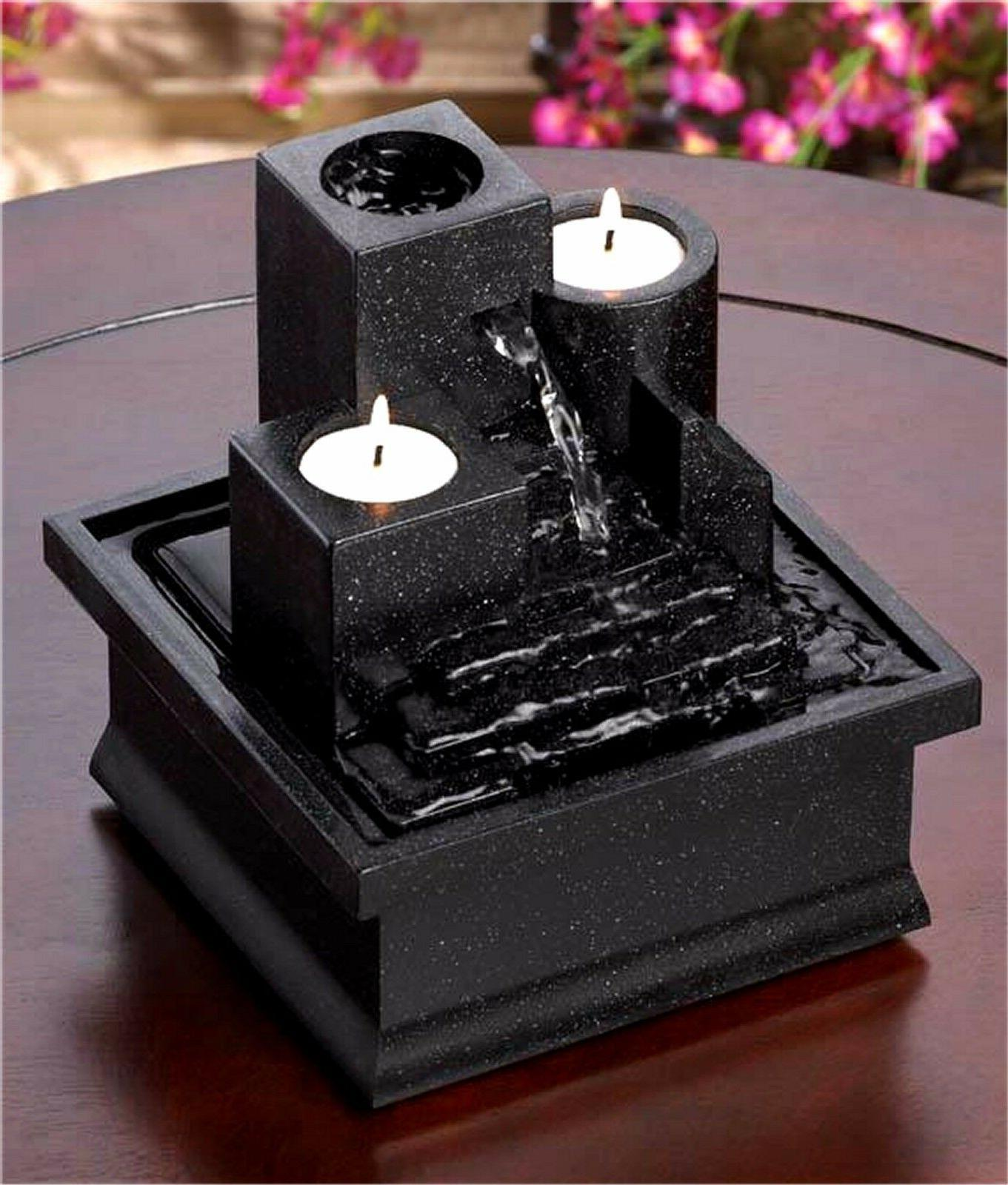 TEMPLE STEPS TABLETOP FOUNTAIN & CANDLE HOLDER W/ CASCADING