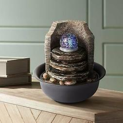 """Rock Stack and Ball 10 1/4"""" High Tabletop Fountain"""