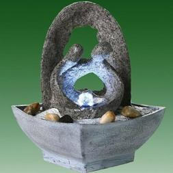 Romantic Couple with Grey Arch Lit Indoor Tabletop Water Fea