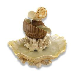Zeckos Sculpted Seashells and Coral Indoor Table Top Water F