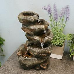 Sunnydaze Rocky Falls Indoor Tabletop Water Fountain with LE