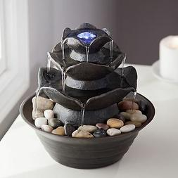 Tiered Indoor Outdoor Lighted Tabletop Water Fountain Home L