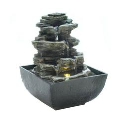 Tiered Rock Formation Tabletop Water Fountain With Light - I