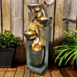 Water Fountain Large Outdoor-Indoor Four-Pitcher Lighted  Ha