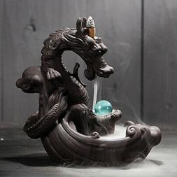 Water Fountain LED Stone Dragon Tower Light Indoor Luck Fort