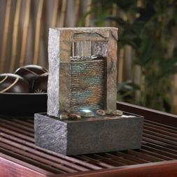 WATER FOUNTAINS: Cascading Indoor Tabletop Fountain with LED